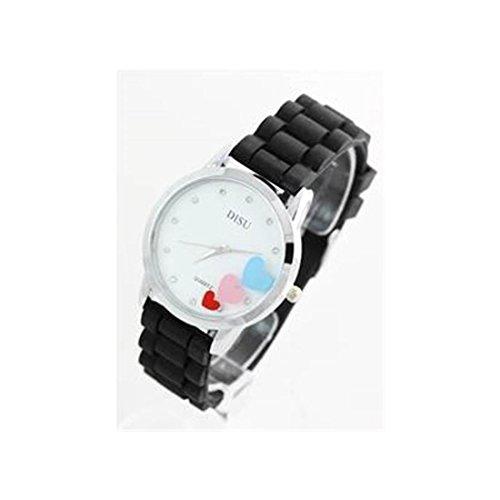 Damen Armbanduhr Silikon schwarz 1337