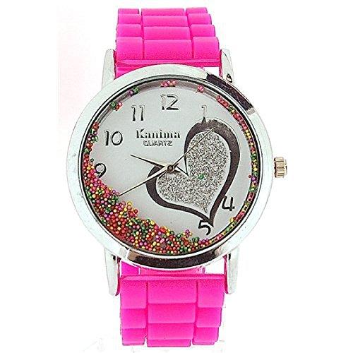 Kanima Damen Maedchenuhr mit fliessenden Kristallen im Zifferblatt rosa Band