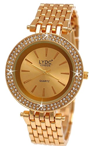 Elegante LYDC London designer Strass in Rose Gold Damen inkl Uhrenbox