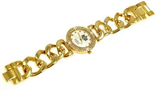 Elegante LYDC London designer Schleifen Strass in Gold inkl Uhrenbox