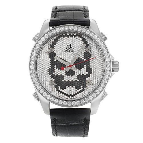 Jacob Co Schwarz Band Fuenf Time Zone Totenkopf Zifferblatt 5 00 CT Diamant Unisex Armbanduhr