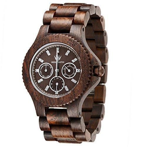 meku Holz handgefertigt Armbanduhr mit 21 Jewels Weihnachten Geschenk Armbanduhr Vater Day Gifts