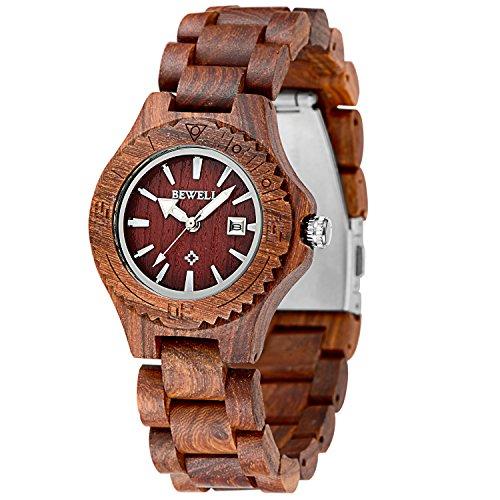 meku Damen Holz Armbanduhr Quarz Holz Uhr Rot Sandelholz Datum Kalender Valentine Geschenk fuer Sie