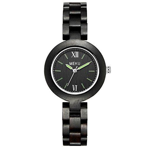 meku Holz Handarbeit Handgelenk Holz Armband Armbanduhr Valentine Geschenk Schwarz