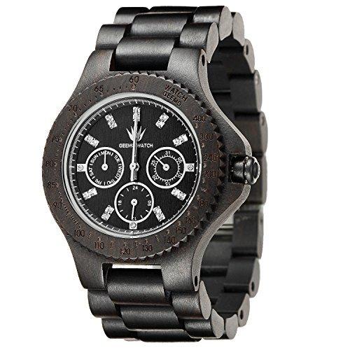 meku Herren handgefertigt Holz Armbanduhr Holz Uhren Ebenholz Armbanduhr Vater Day Gifts schwarz