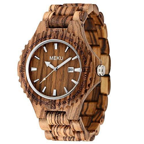meku Herren handgefertigt Holz Armbanduhr Quarz natur massiv Zebra Holz Uhr mit Datum Kalender Display Vater Day Gifts