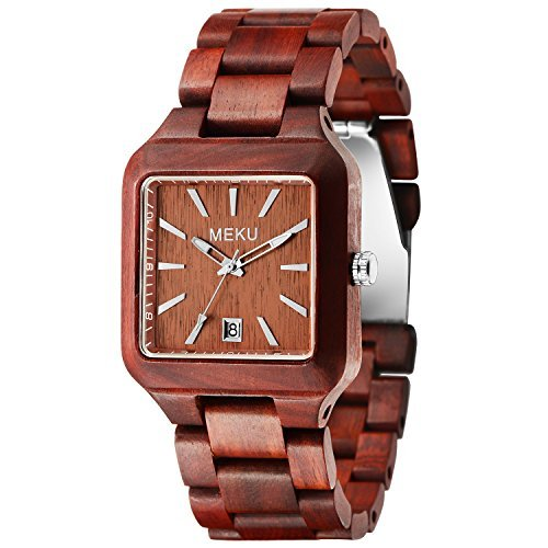 meku Herren quadratisch Holz Armbanduhr handgefertigt Sandale Holz Geschenk Uhr Rot Vater Day Gifts