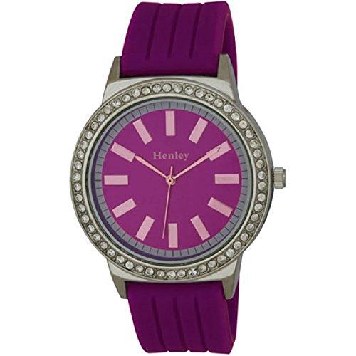 HENLEY H0838 7 Durch Kristalle verzierte mit lila Armband aus Silikon