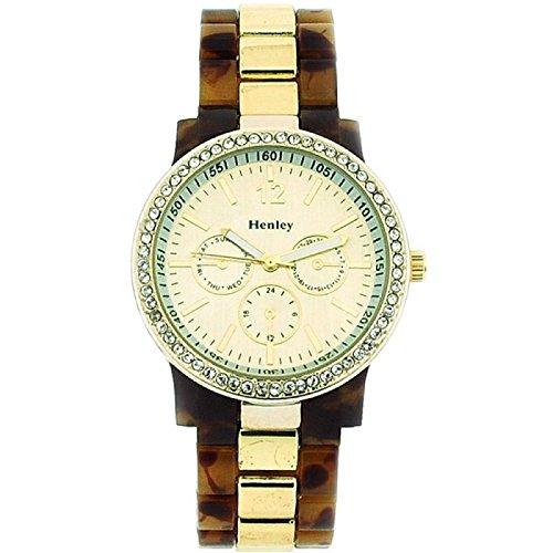 Henley Glamour mit goldenem Chrono Stil Zifferblatt H0887 2G