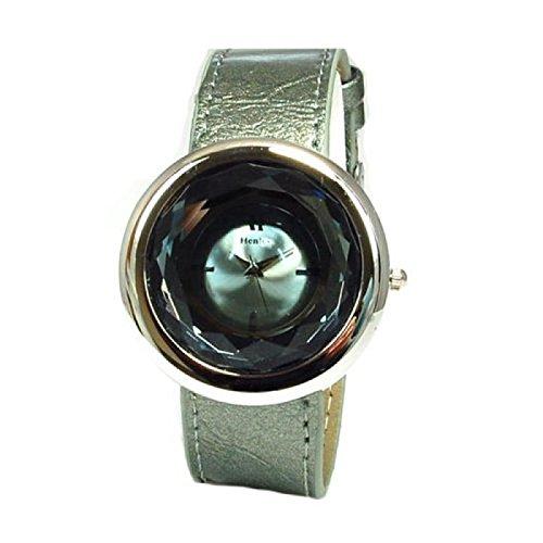 Henley Glamour H06021 3 rauchgraue mit rundem polierten Chromgehaeuse und facettenreich geschliffenem Mineralglas