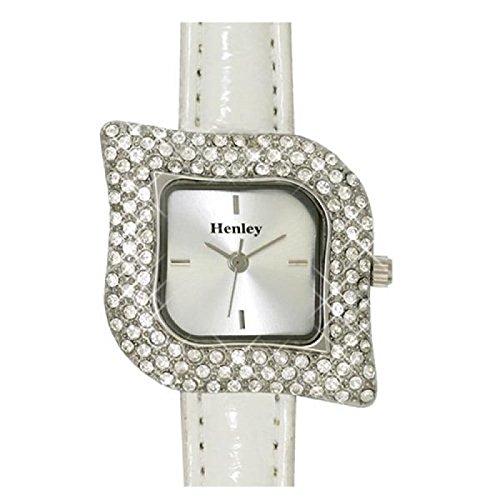 Henley Glamour H06008 1 in Blattform mit weissem Armband in einer schicken Praesentbox