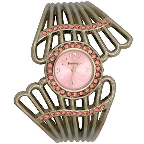 Henley Glamour H07068 4 Faecher Spangenuhr mit rosa Kristall in weisser Presentationsbox