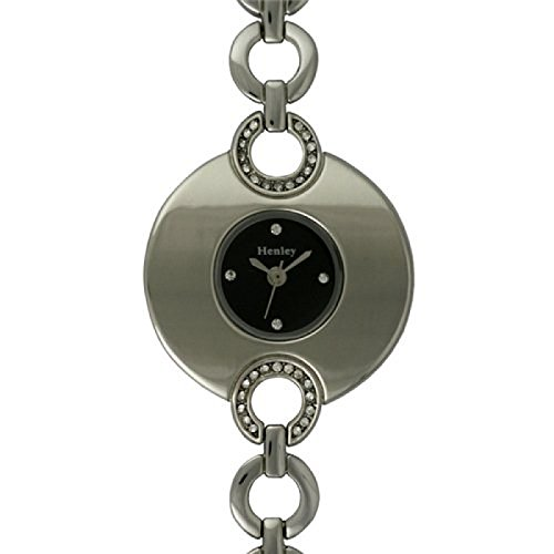 Henley Glamour H07049 3 mit schwarzem Zifferblatt und schlankem Armband