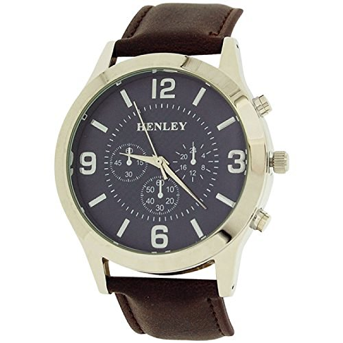 Henley Herrenuhr grosses graues Zifferbl Chronoeffekt braunes PU Band H02104 6