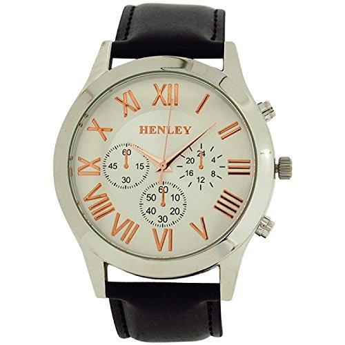 Henley Uhr w Zifferbl roem Ziff 3 Unterzifferbl schwarzes PU Band H02092 14