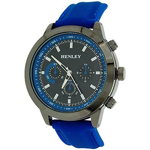Henley Uhr w Zifferrbl roem Ziff 3 Unterzifferbl blaues PU Band H02102 6