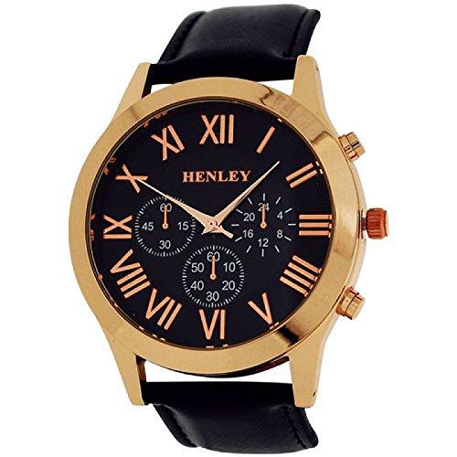Henley Uhr w Zifferrbl roem Ziff 3 Unterzifferbl schwarzes PU Band H02092 34