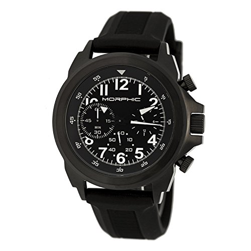 Morphic MPH1904 Herren Edelstahl Schwarz Silikon Band Schwarz Dial Analog Watch