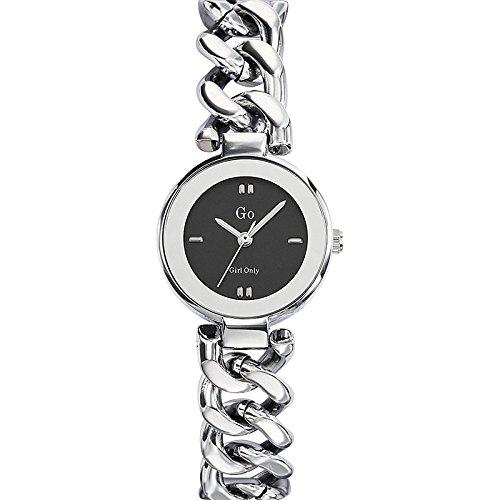 Go Girl Only 695016 Damen Armbanduhr Quarz Analog Zifferblatt schwarz Armband Metall silber