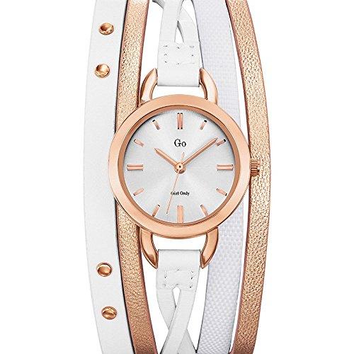 Go Girl Only 698577 Damen Armbanduhr 045J699 Analog silber Armband Leder Weiss