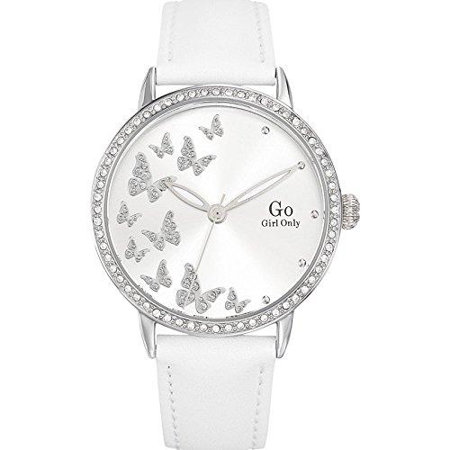Go Girl Only 698602 045J699 Analog silber Armband Leder Weiss