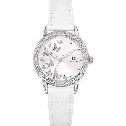 Go Girl Only 698605 Damen Armbanduhr 045J699 Analog silber Armband Leder Weiss