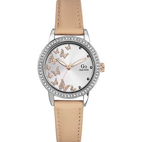 Go Girl Only 698610 Damen Armbanduhr 045J699 Analog silber Armband Leder beige