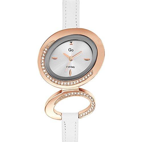 Go Girl Only 698685 Damen Armbanduhr 045J699 Analog silber Armband Leder Weiss
