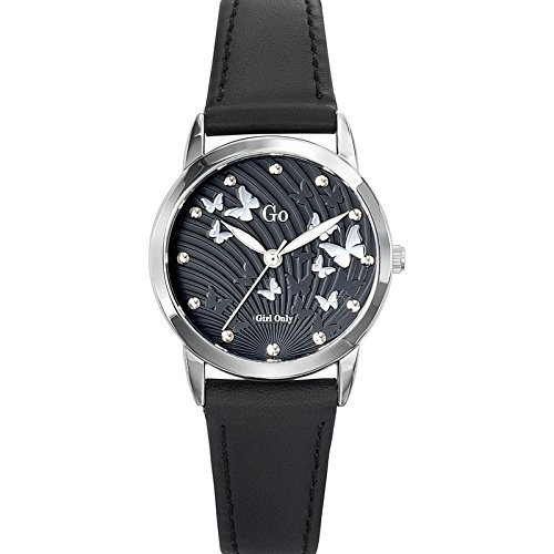 Go Girl Only 698700 Damen Armbanduhr Quarz Analog Zifferblatt schwarz Armband Leder schwarz