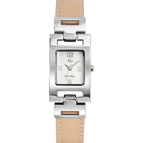 Go Girl Only Damen Armbanduhr 696874 Quarz Analog Zifferblatt Silber Armband Leder beige