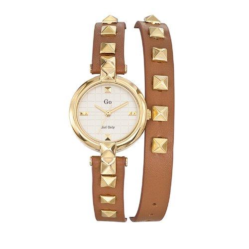 Go Girl Only 698387 Quarz Analog Zifferblatt Silber Armband Leder braun