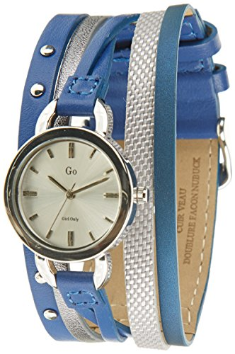 Go Girl Only 698554 Quarz Analog Zifferblatt Silber Armband Leder Blau