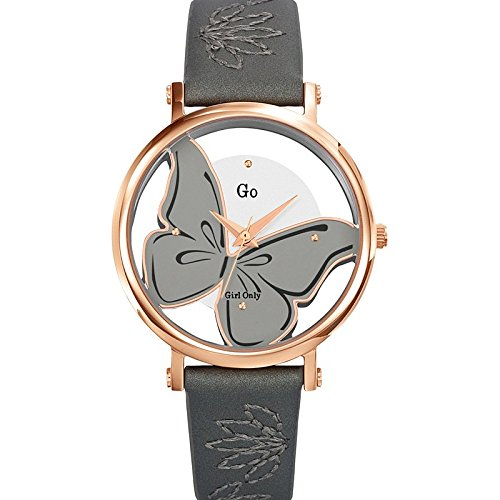 Go Girl Only Damen Armbanduhr 698668 Quarz Analog Zifferblatt Silber Armband Leder grau