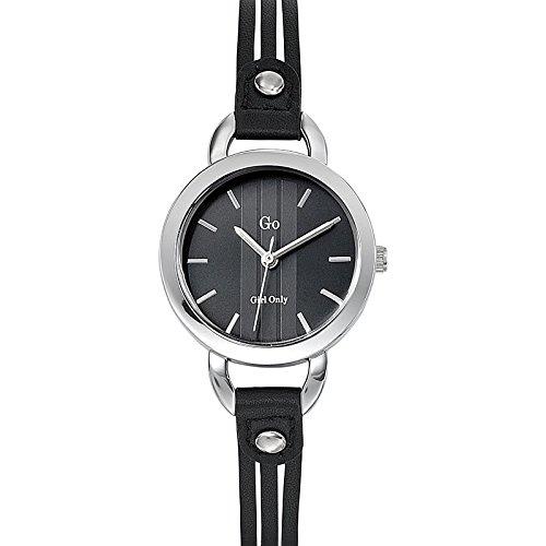 Go Girl Only Damen Armbanduhr 698581 Quarz Analog Zifferblatt schwarz Armband Leder schwarz