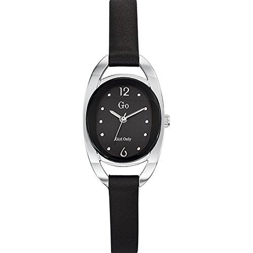 Go Girl Only Damen Armbanduhr 698678 Quarz Analog Zifferblatt schwarz Armband Leder schwarz