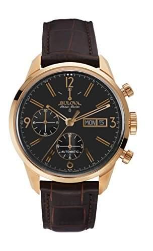 Bulova Herren-Armbanduhr Chronograph Automatik Leder 64C106