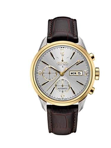 Bulova Herren-Armbanduhr Chronograph Automatik Leder 65C112
