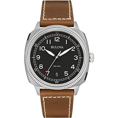 Bulova Herren-Armbanduhr Military Analog Quarz Leder 96B230