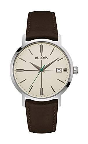 Bulova Herren-Armbanduhr Aerojet Analog Quarz Leder 96B242