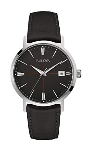 Bulova Herren-Armbanduhr Aerojet Analog Quarz Leder 96B243