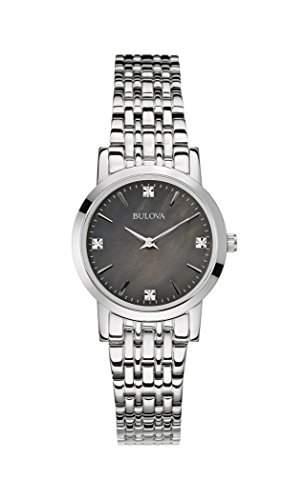 Bulova Diamant WomenHerren Quarzuhr mit schwarzem Zifferblatt Analog-Anzeige und Silber-Edelstahl-Armband - 96P148