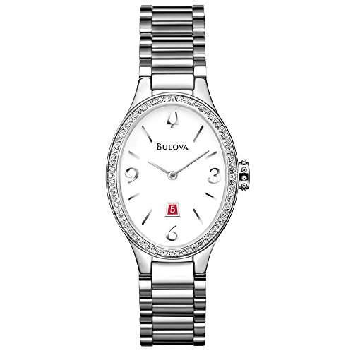 Bulova Diamant WomenQuarz-Uhr mit weissem Zifferblatt Analog-Anzeige und Silber-Edelstahl-Armband - 96R192