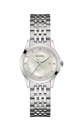 Bulova Damen-Armbanduhr Diamonds Analog Quarz Edelstahl 96S160