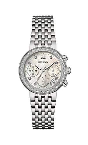 Bulova Damen-Armbanduhr Diamonds Analog Quarz Edelstahl 96W204