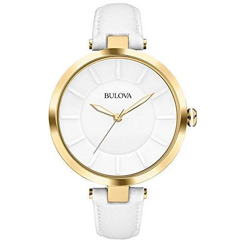 Bulova Kleid Womens-Quarz-Uhr mit weissem Zifferblatt Analog-Anzeige und weisse Lederband - 97L140