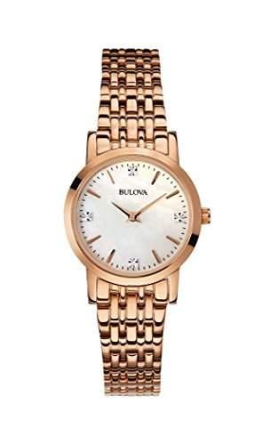 Bulova Diamant Women- Armbanduhr Analog Quarz Gold ionenplattiert 97P106 Armband