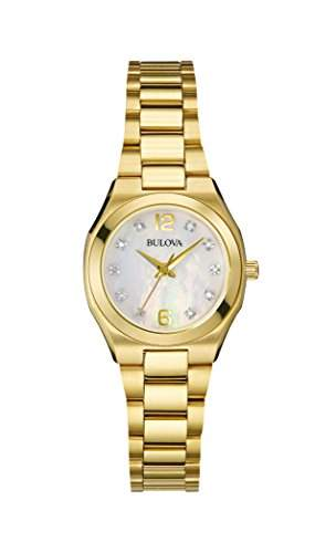 Bulova Diamant Women- Armbanduhr Analog Quarz Gold ionenplattiert 97P109 Armband