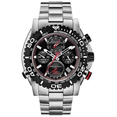 Bulova Precisionist Chronograph Herren Armbanduhr UHF mit schwarzem Zifferblatt und Silber Edelstahl Armband