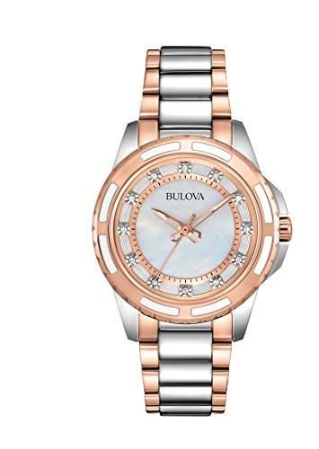 Bulova Damen-Armbanduhr Ladies Diamond Analog Quarz Edelstahl beschichtet 98P134