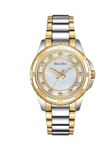 Bulova Damen-Armbanduhr Diamonds Analog Quarz Edelstahl 98P140